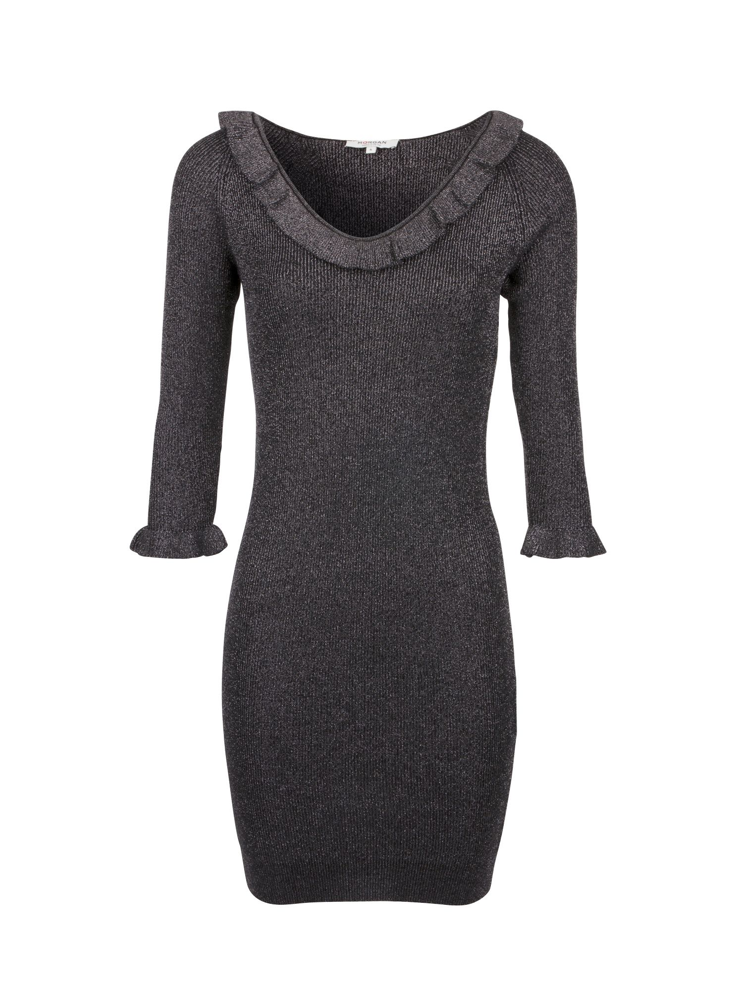 Morgan Metallic Knit Dress With Ruffles, Grey