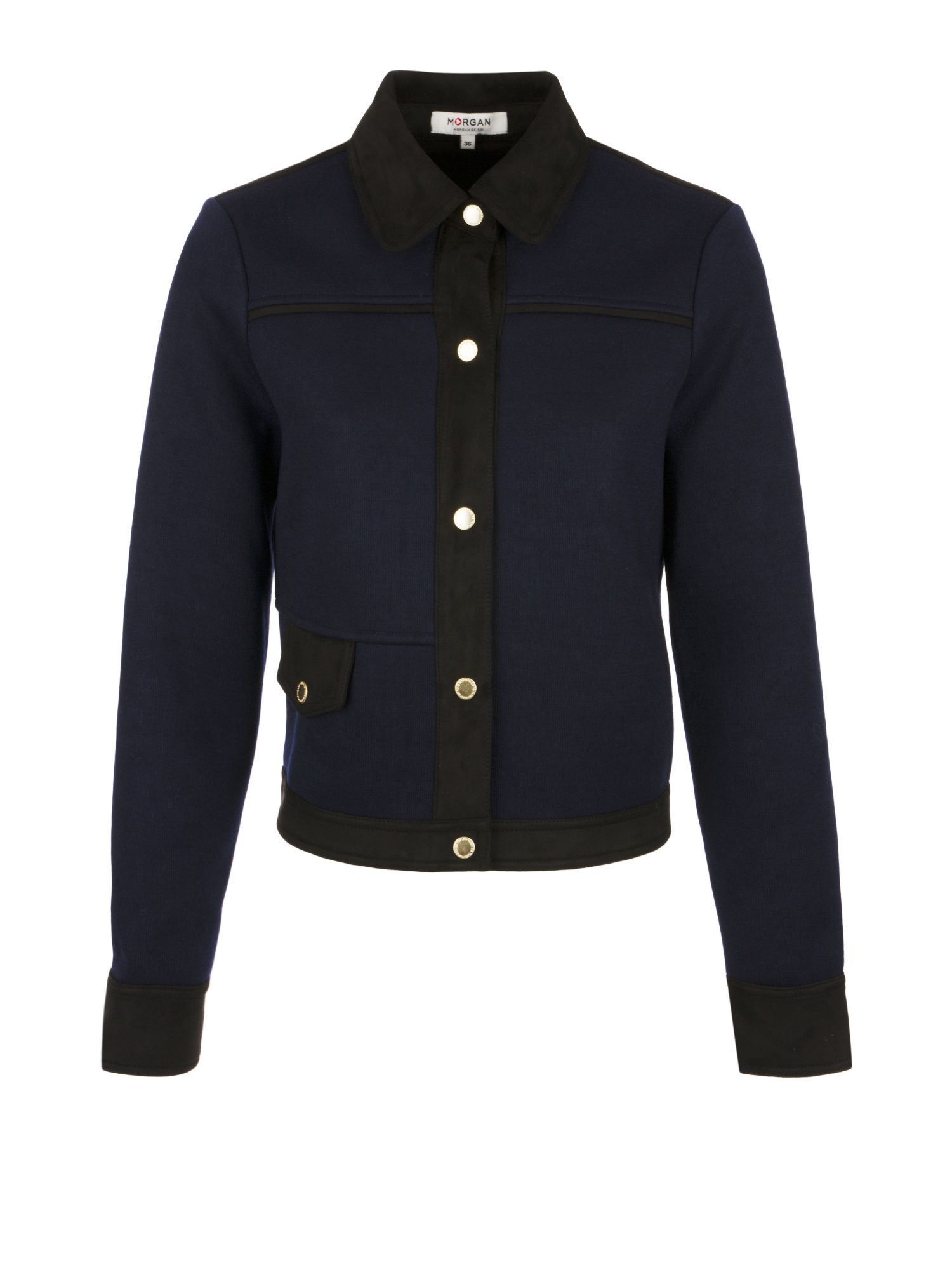 Morgan Suede And Knit Jacket, Black