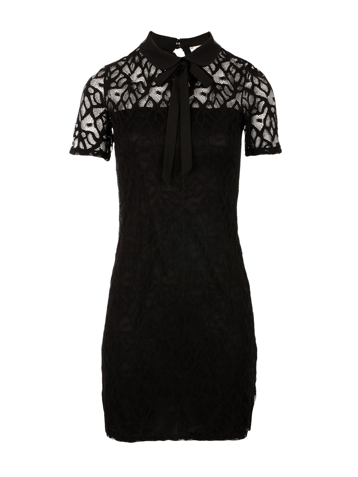Morgan Lavalliere Tie Lace Dress, Black