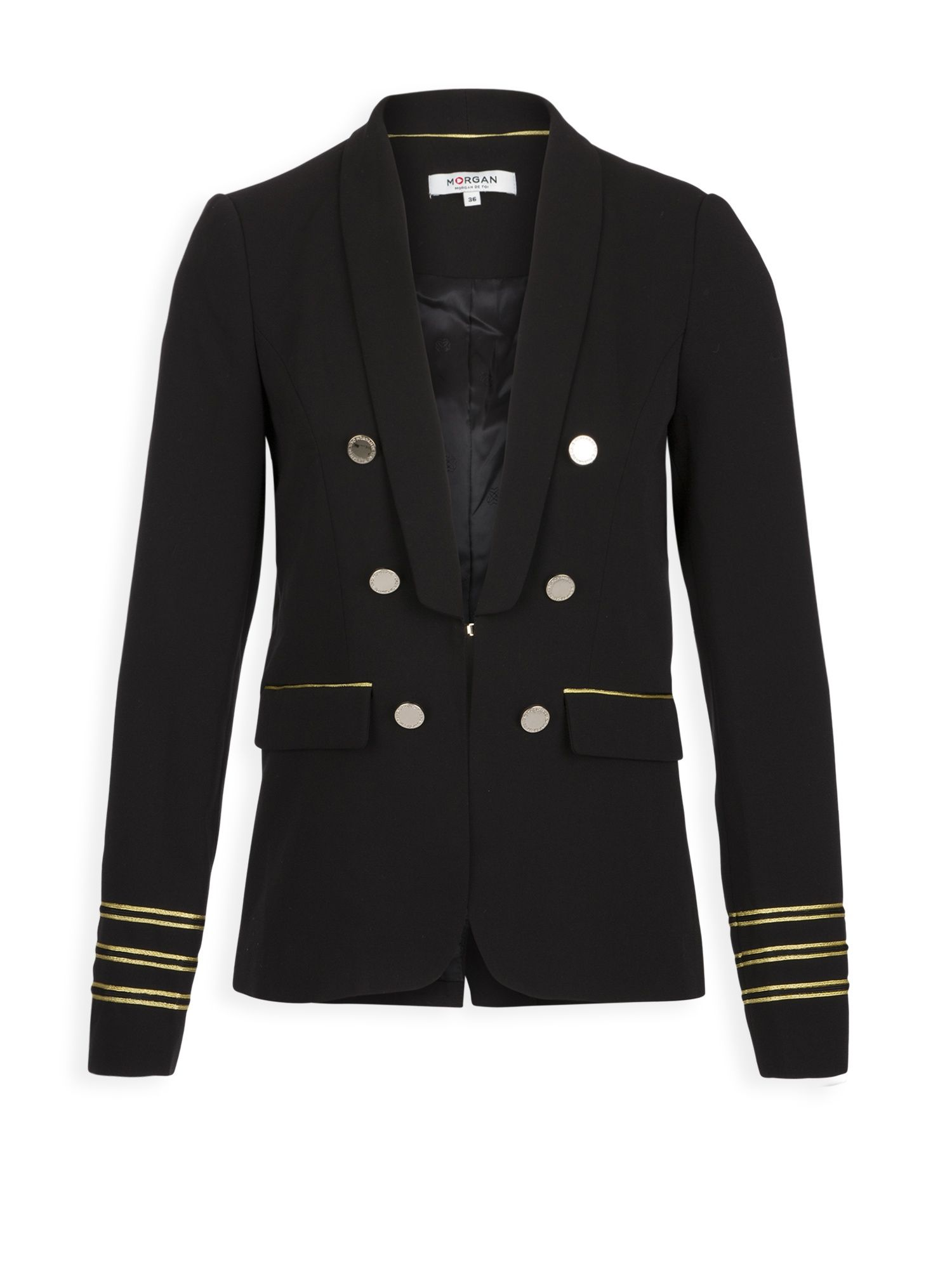 Morgan Military Jacket With Gold Braid, Black