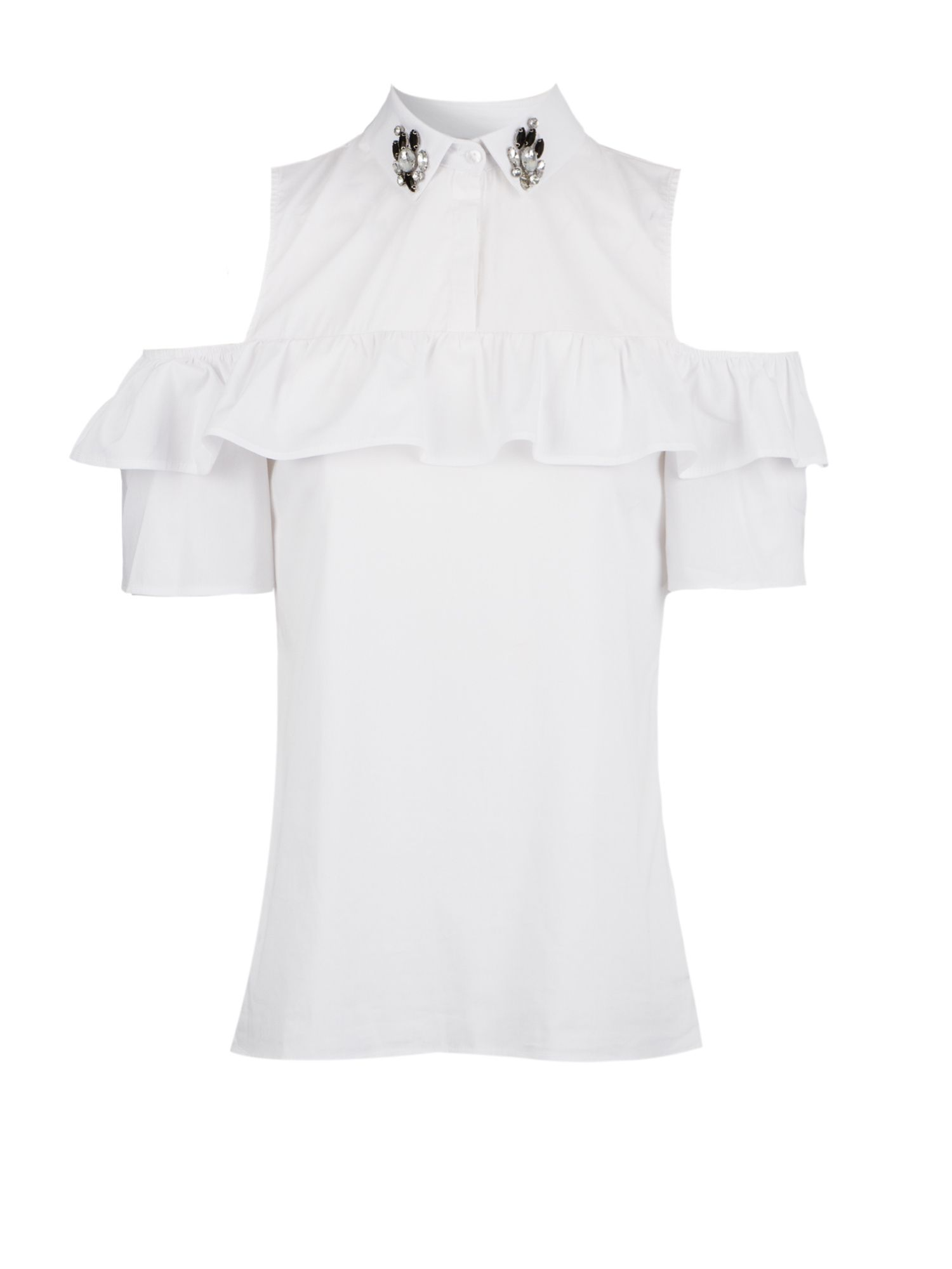 Morgan Poplin Blouse Rhinestones On The Collar, White