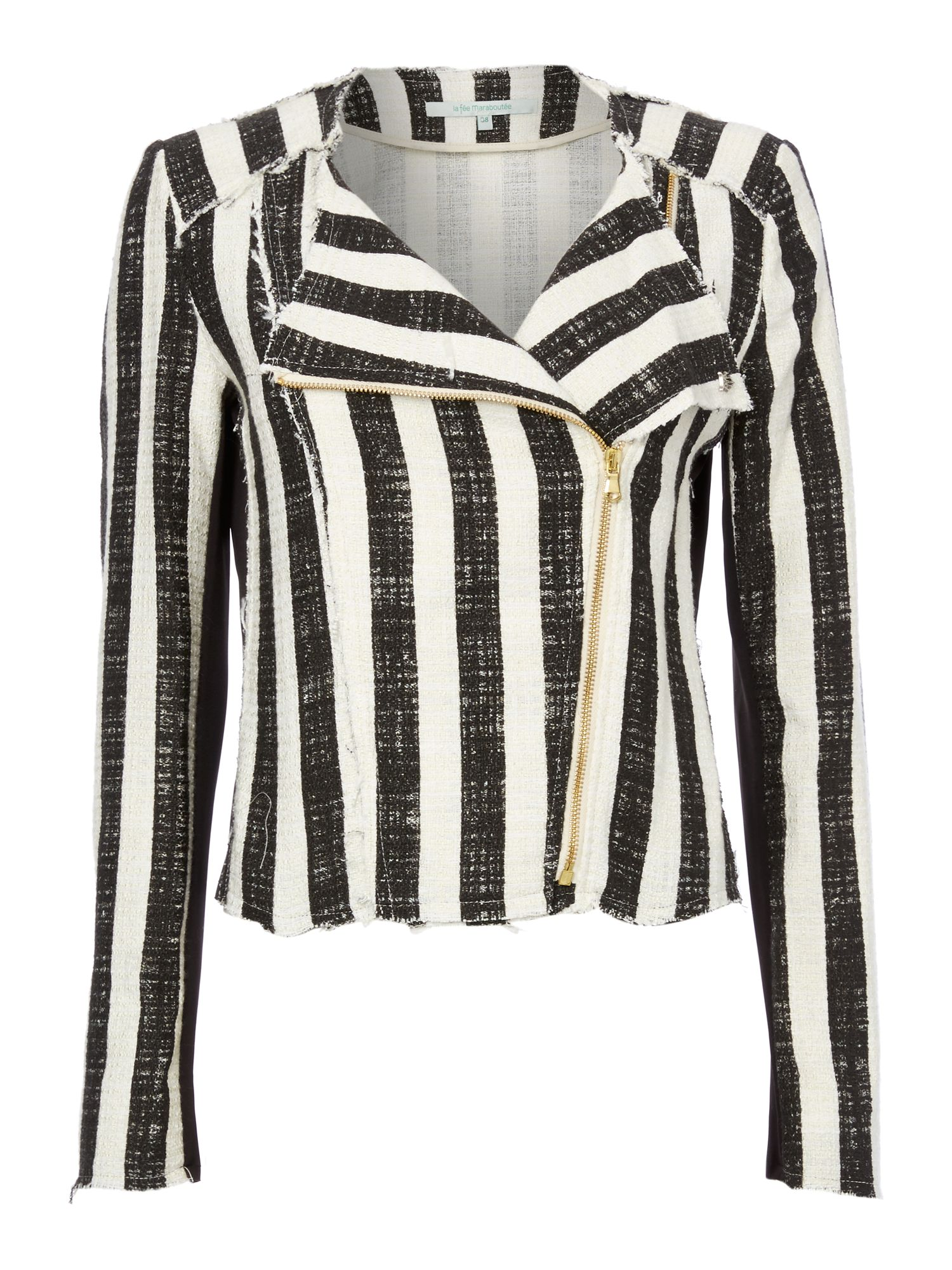 Striped zip-up coat