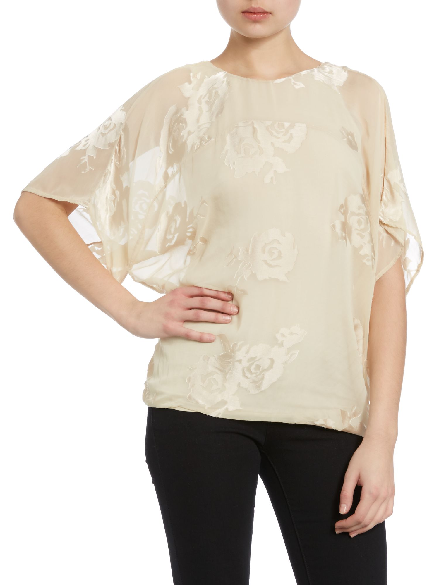 Dolman-sleeve flower blouse