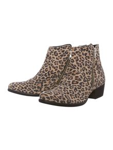 Panther print ankle boots