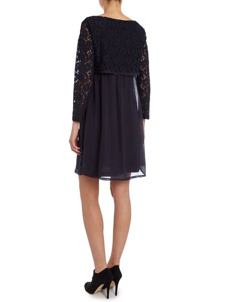 La Fee Maraboutee Bi-fabric plain dress with lace