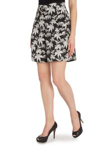 La Fee Maraboutee Palm-tree print black and white skirt