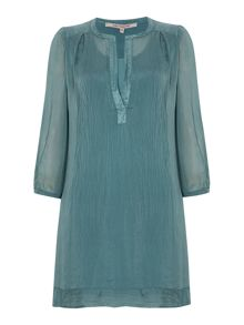 Voile smock, open neck, 3/4 sleeves