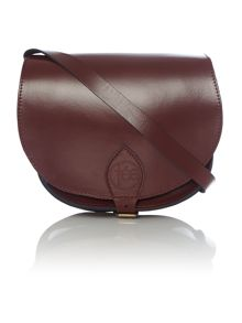 Leather strapped beggar`s bag
