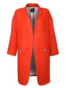 Wool Long-Sleeved Coat with zip