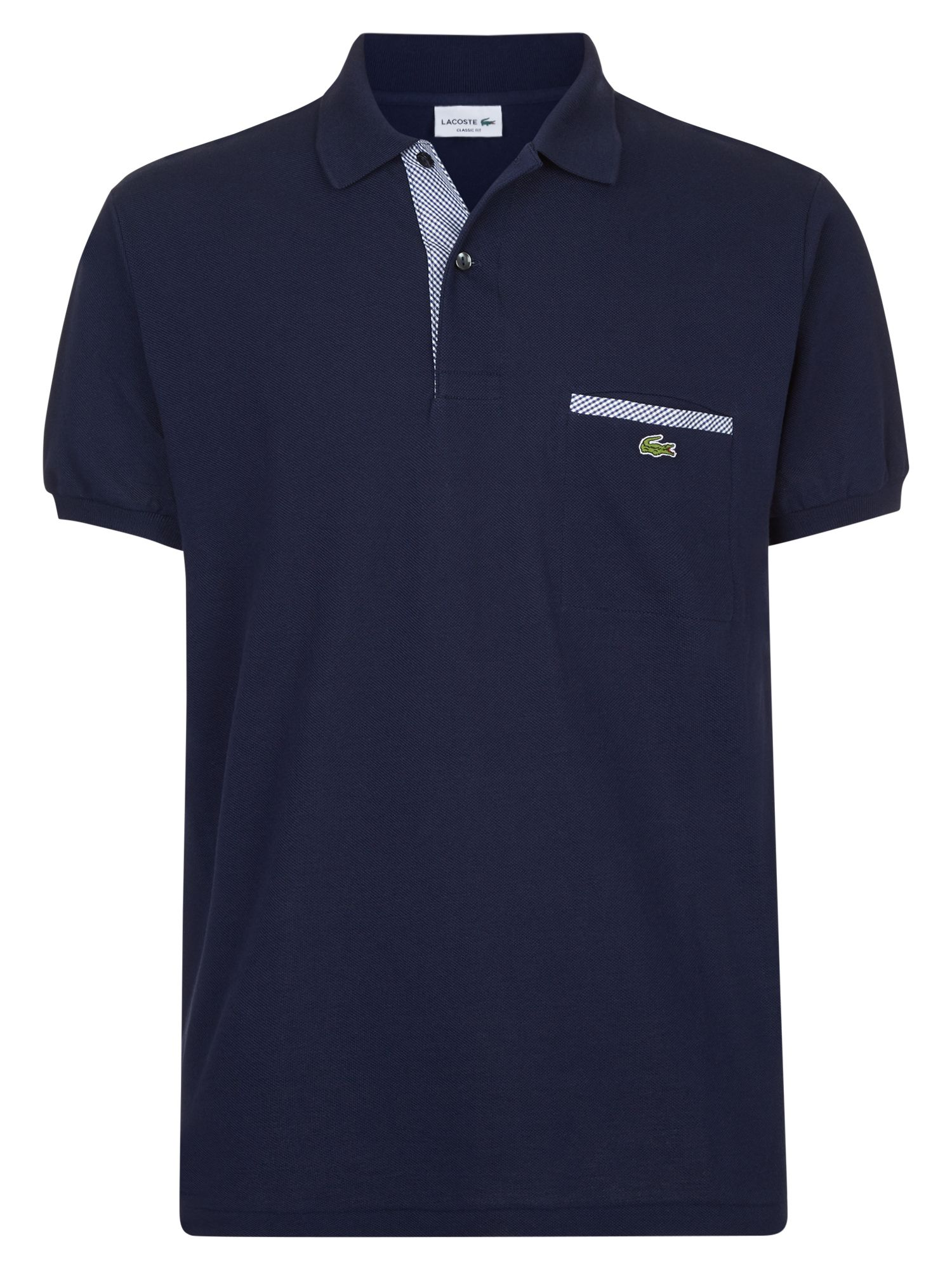 Men's Lacoste Contrast Pocket Polo Shirt, Blue & White