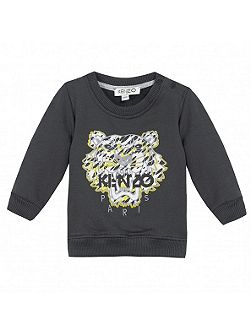 Girls White Tiger Sweatshirt