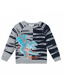 Boys Tiger-Jacquard Jumper