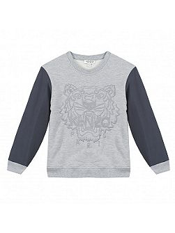 Boys Contrast-Sleeve Tiger Sweatshirt