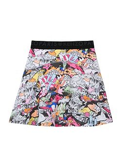 Girls Cartoon Print Skater Skirt