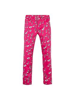 Girls Cactus Print Satin Stretch Trousers