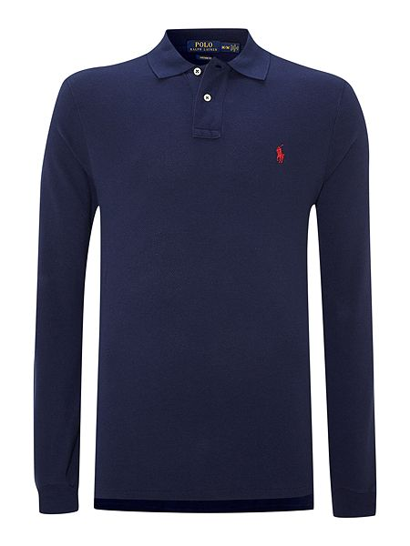 polo ralph lauren custom fit long sleeve polo shirt navy