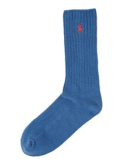 Cotton ribbed crew socks