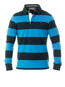 Wide striped rugby polo shirt