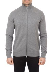 Eden Park Cotton Zip Up Cardigan With High Neck