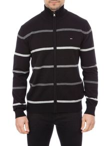Eden Park Striped Cotton Zip Up Cardigan