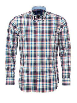 Checked Cotton Shirt With Elbow Patches