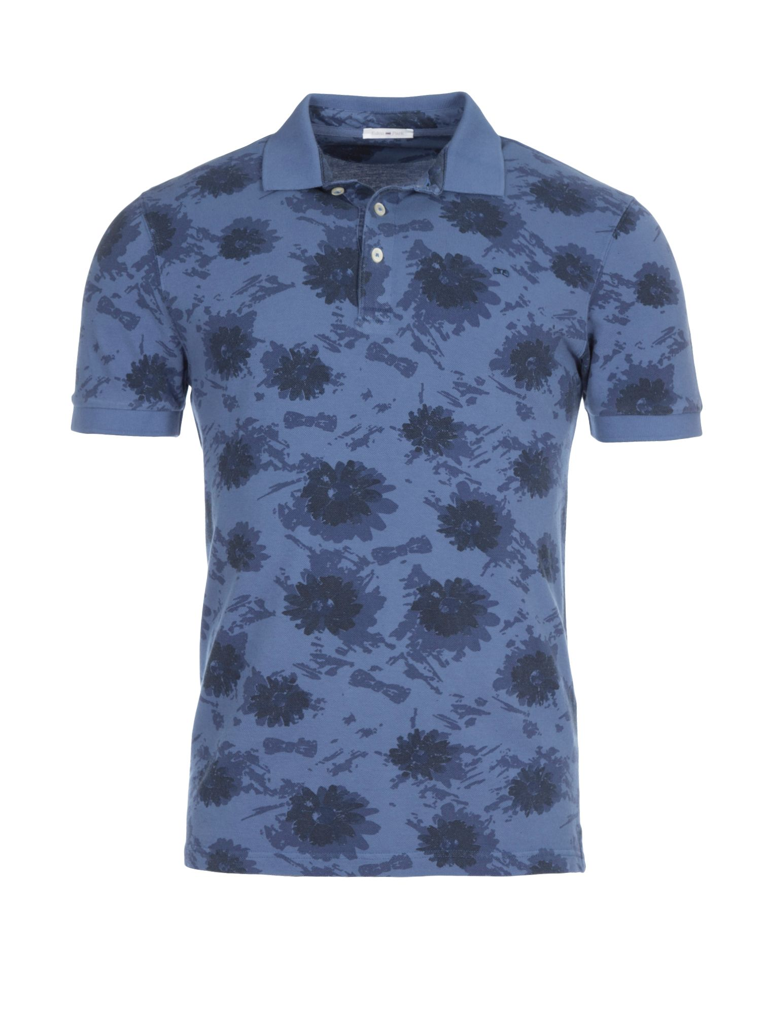 Men's Eden Park Floral Cotton Polo Shirt, Blue