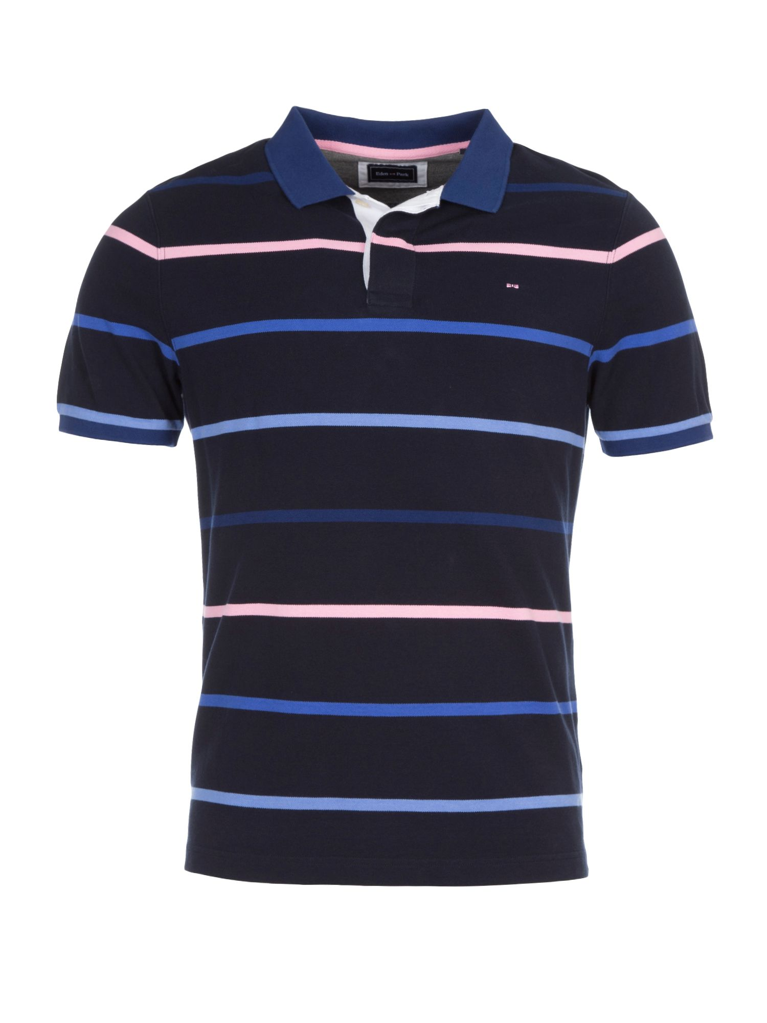 Men's Eden Park Striped Cotton Polo Shirt, Blue