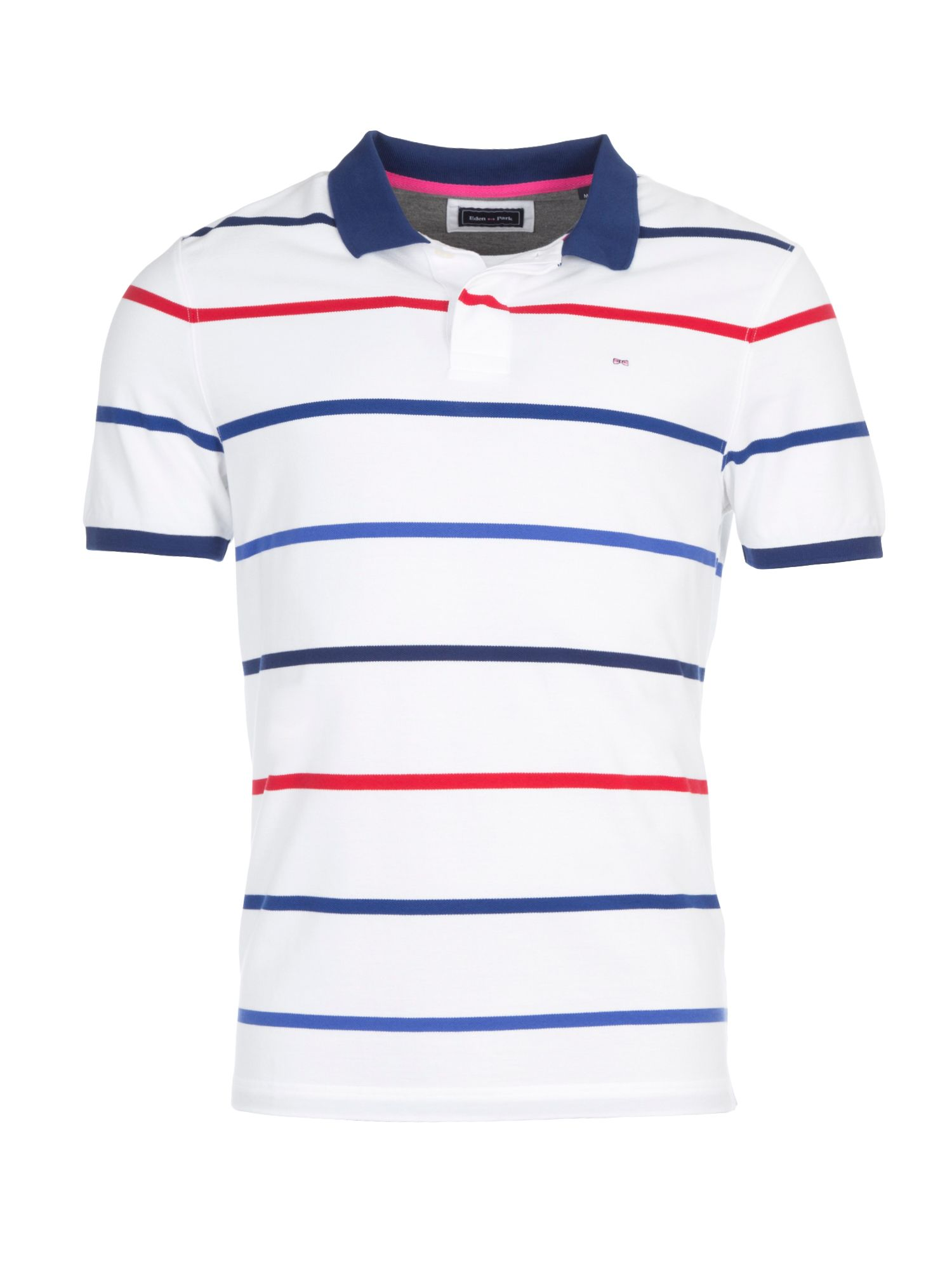 Men's Eden Park Striped Cotton Polo Shirt, White