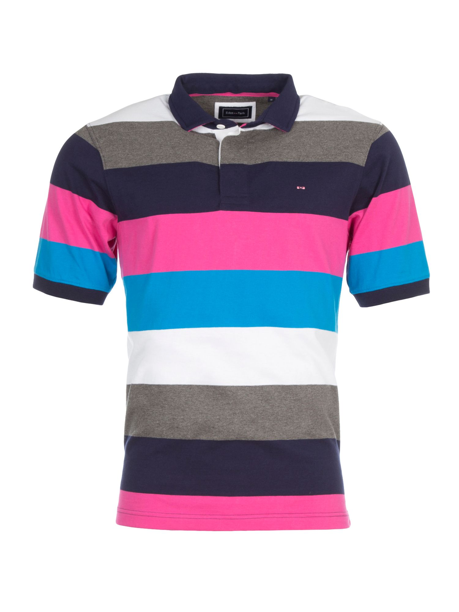 Men's Eden Park Multicoloured Stripe Polo Shirt, Multi-Coloured