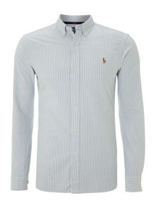 Long Sleeved Slim Fitted Oxford Striped Shirt