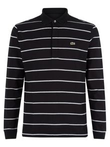 Slim fit long-sleeve striped  polo