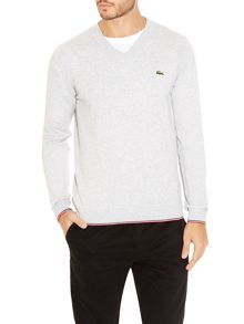 Piped edge v-neck sweater