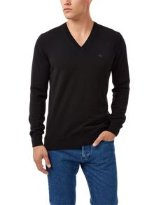 Lacoste Lambswool V Neck Jumper