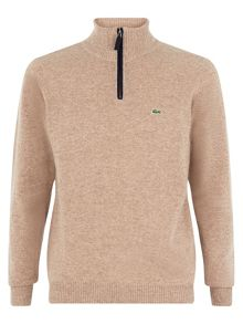 Marl knit sweater with zip collar