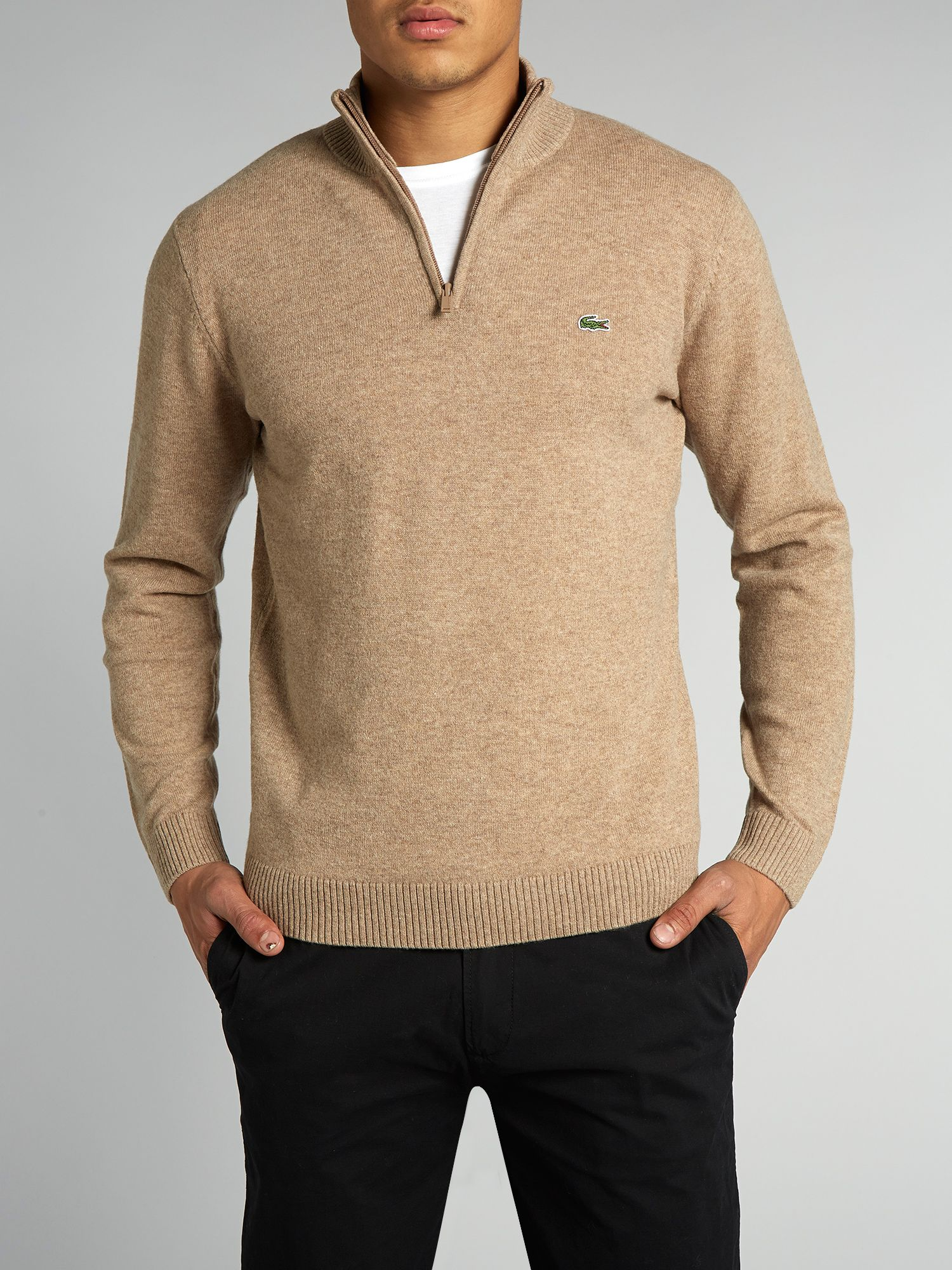 Zip collar lambswool sweater
