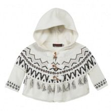 Girls poncho in ecru jacquard knit