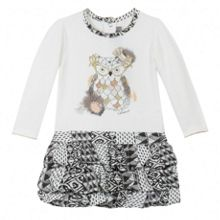 Girls graphic two-material dress