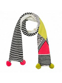 Catimini Girls bold knitted black and white scarf