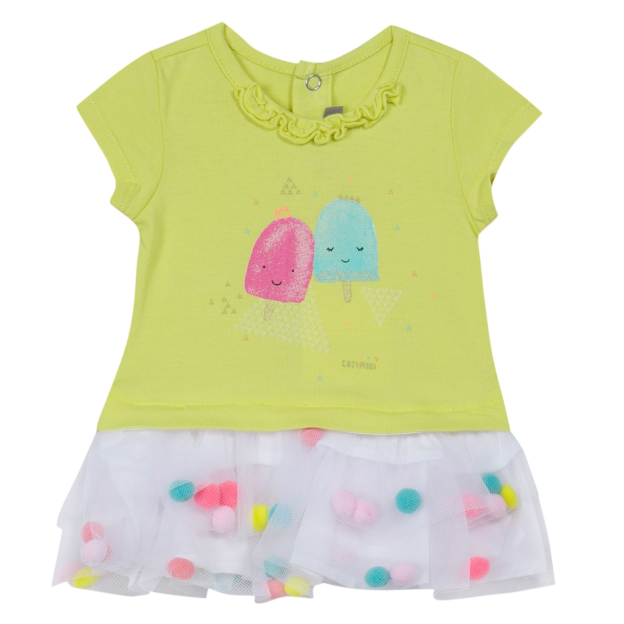 Catimini Girls dress with ice cream print Yellow