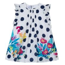 Catimini Girls dress with floral print and dots
