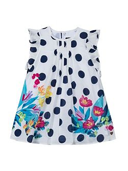 Girls dress with floral print and dots