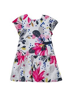 Girls high-waisted dress in two fabrics