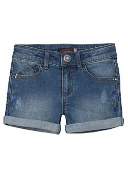 Girls bleached denim short
