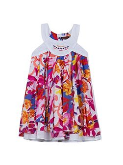 Girls scarf dress with floral print