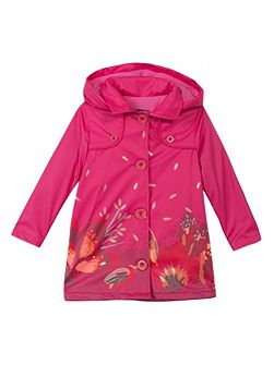 Girl floral pattern waterproof jacket