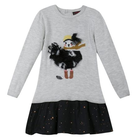 Catimini Girls Fluffy Bird Dress