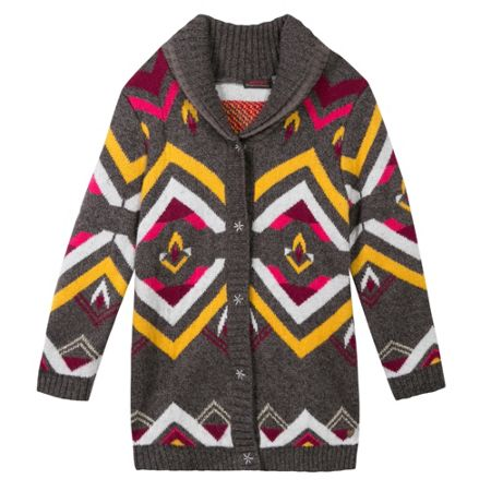 Catimini Girls aztec-print knitted overcoat