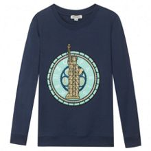 Kenzo Unisex navy blue sweatshirt Paris theme