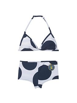 Girls navy and white reversible bikini