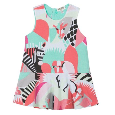 Kenzo Girls reversible dress `Animals Party`